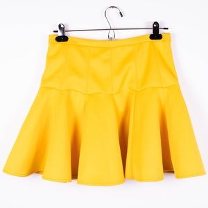ASOS mustard yellow trumpet pleated mini skirt